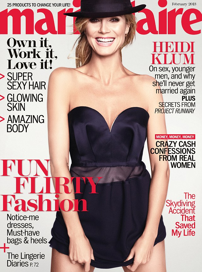 Cover girl: Supermodel Heidi looks her best as she poses in a mini dress on the magazine's cover