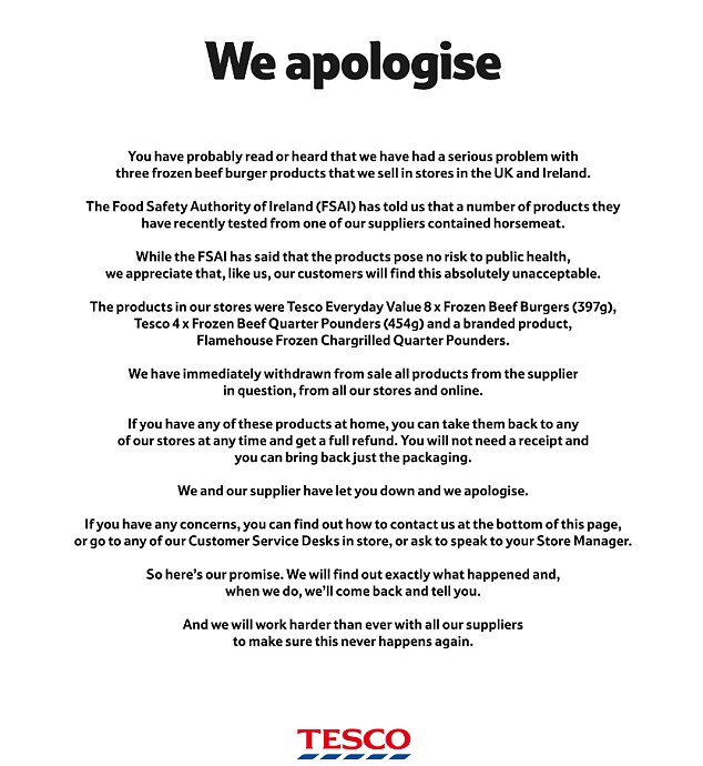 Horse meat could have been used in beefburgers for years and was - tesco cv
