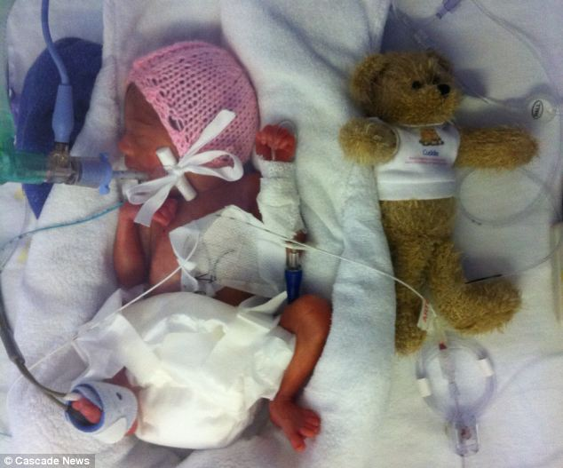 When baby Alice was born at 25 weeks, she was the smallest baby ever to be born in Wales, weighing just 1lb 3oz, and doctors feared she would not survive
