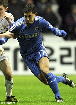 Chelsea star: Eden Hazard (right) is pictured earlier in the League Cup match with Swansea City's Ben Davies