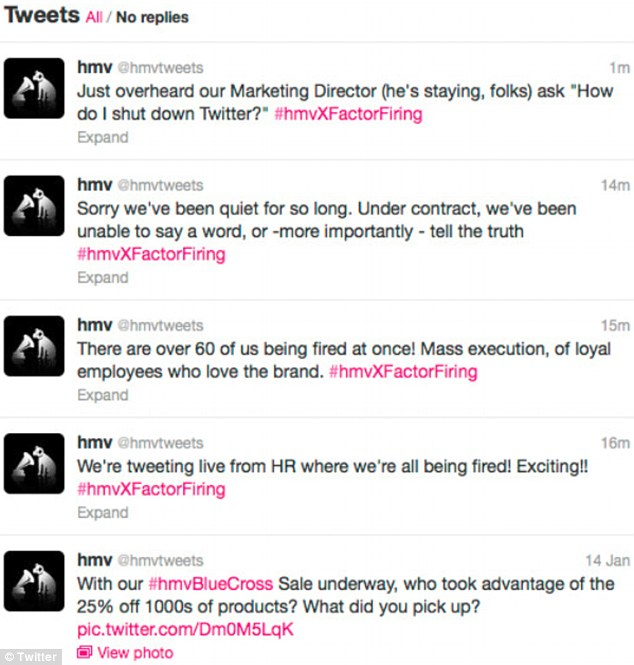 'Execution': The tweets from HMV's official account slammed the firing of 60 employees in one meeting