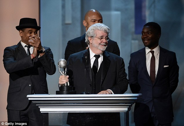 Top film: Producer of Red Tails George Lucas accepts Vanguard Award