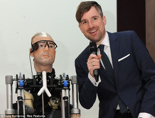 Twins: Swiss social psychologist Bertholt Meyer with the bionic man, which was modelled on him