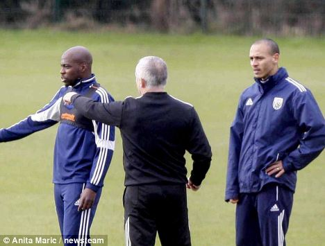 Outcast: Peter Odemwingie (right) was summoned back to training during the international break