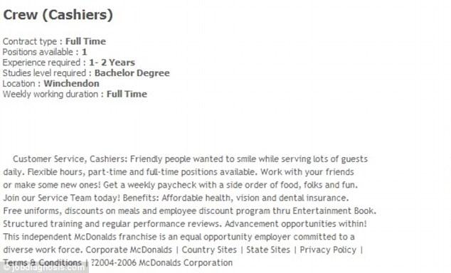 Massachusetts McDonald\u0027s demands bachelors degree and two years