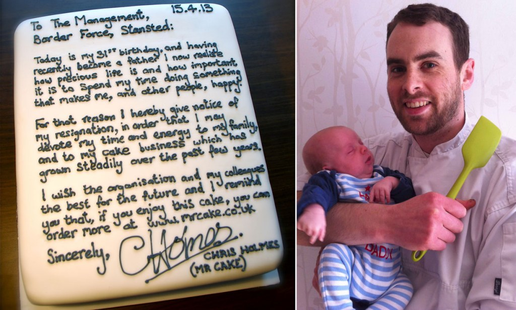 Mr Cake resignation Chris Holmes quits job at Stansted Airport with - resignation letter cake