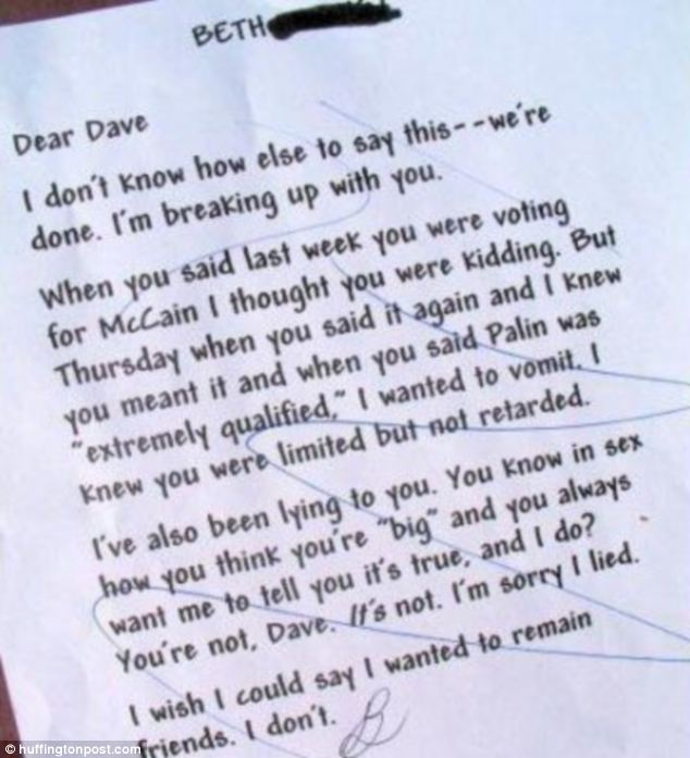 Funniest ways to dump your partner by letter \u0027I\u0027m having a tough
