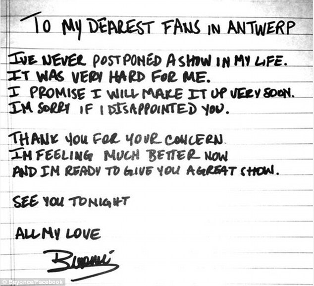 Beyoncé pens handwritten apology after cancellation but reassures