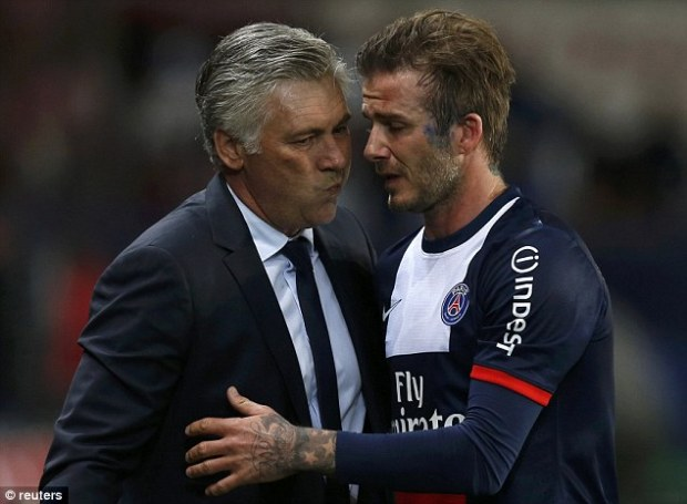 Respect: Beckham was given a standing ovation by players from both sides and fans as he left the field
