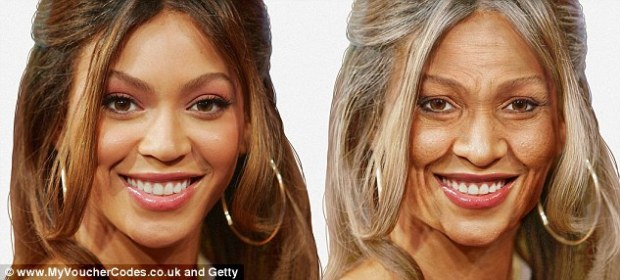 If I Were an OAP: Beyonce looks a far cry from her radiant 31-year-old self and her flawless complexion has been replaced by a visage of wrinkles