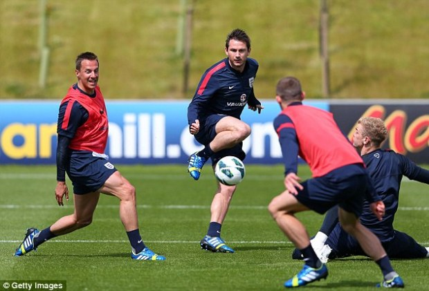 Still got it: Frank Lampard in training at St George's Park on Monday just weeks ahead of his 35th birthday