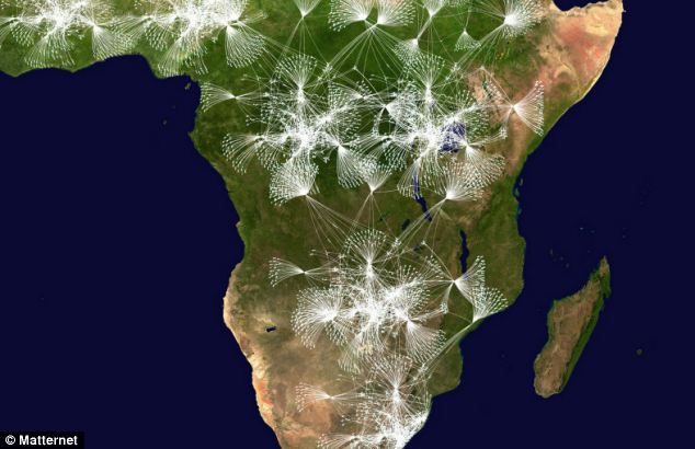 An artist's impression of how Matternet's drone network could expand across Africa to offer deliveries to remote areas using base stations
