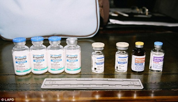 Dependency: Four bottles of Propofol and a variety of other drugs line Jackson's night stand