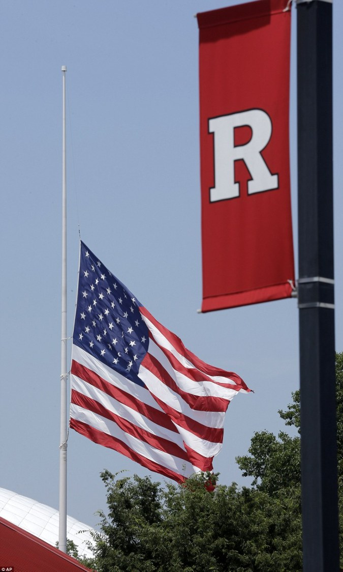 Respect: The flag hung at half mast for the popular star