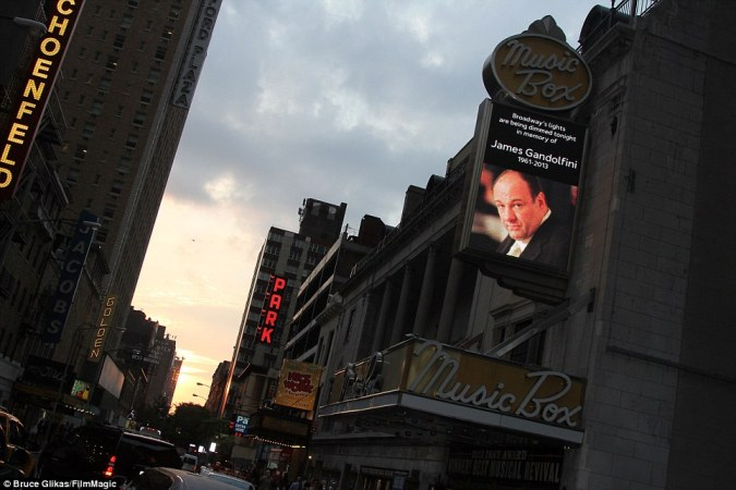 Paying tribute: Broadway theatres dimmed their marquee lights on Wednesday in honour of the late Sopranos star