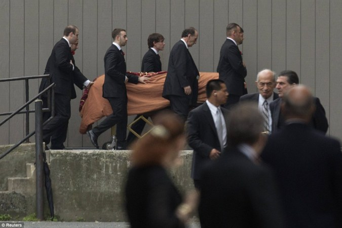 Coffin: The casket of actor James Gandolfini is escorted into the Cathedral Church of Saint John the Divine for funeral services in New York June 27, 2013