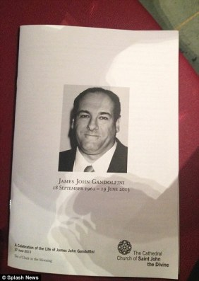 Order of service: The cover of the Order of Service for the funeral of James Gandolfini in NYC