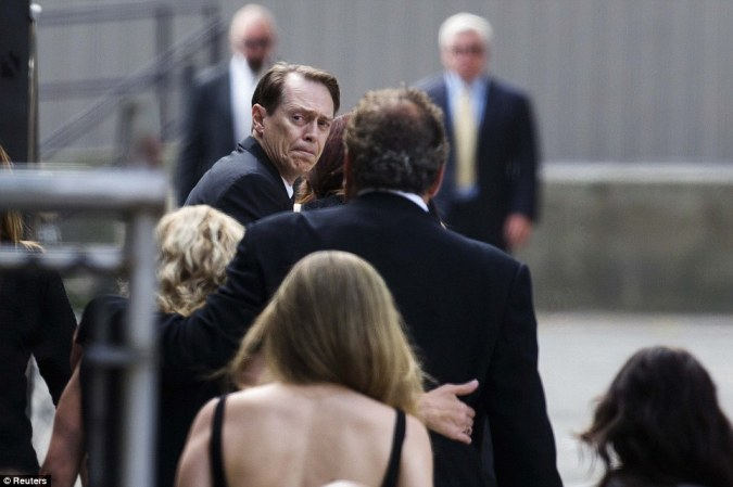 Stars: Actor Steve Buscemi arrives for the funeral services of James Gandolfini outside the Cathedral Church of Saint John the Divine