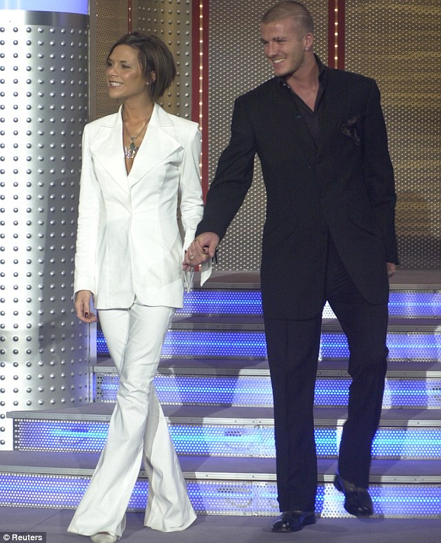 2001: Here embracing both their love of monochrome and coordinated outfits, VB and DB wore matching suits