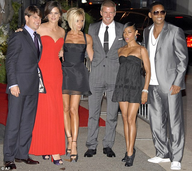 2007: A move to LA a host of new A list friends (left - right) Tom Cruise, Katie Holmes, Victoria and David, Jada Pinkett Smith, and Will Smith pose at a private party thrown by Cruise and Holmes for the Beckham's