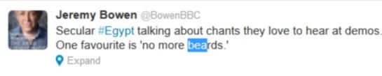 Jeremy Bowen, of the BBC, tweeted that people had been discussing their chants - one of which appeared to be aimed at the Muslim Brotherhood