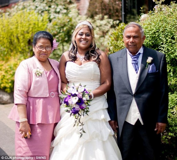 Mr Babwah, pictured with his daughter Camela and wife Shanty,