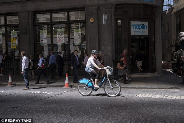 Cycling past: Sun rays and heat reflected from the Walkie Talkie building caused extreme heat on Eastcheap