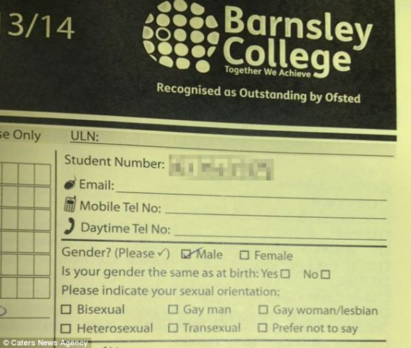 Barnsley College form, from the Daily Mail