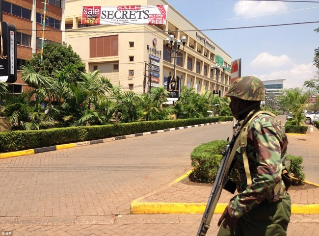 Stand-off: Soldiers are still searching in and around the Westgate Shopping Mall in Nairobi after armed men attempted to rob a shop