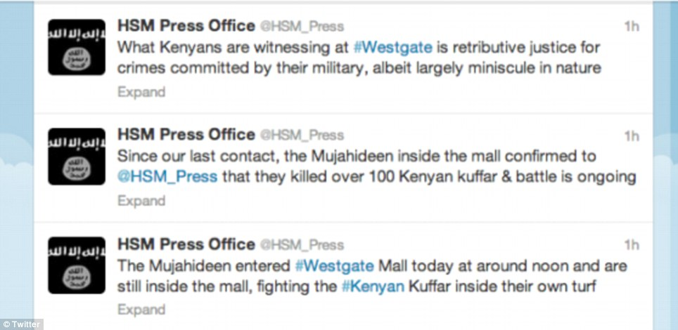 Chilling: al-Shabaab terrorists live-tweeted the attack until Twitter suspended their account