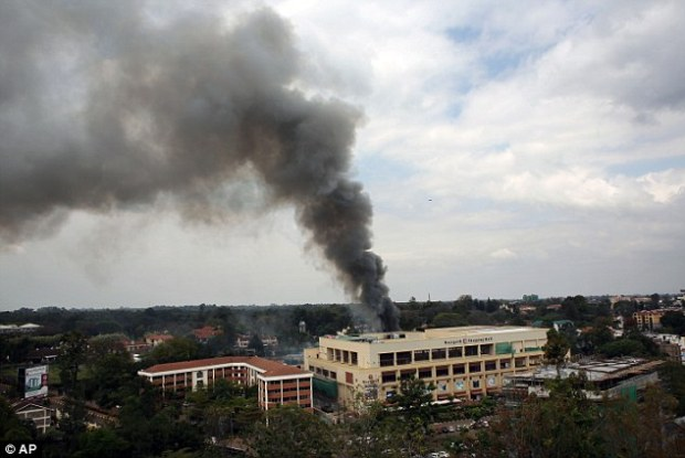 Operation: Heavy smoke rises from the Nairobi shopping centre. Multiple large blasts have rocked the mall