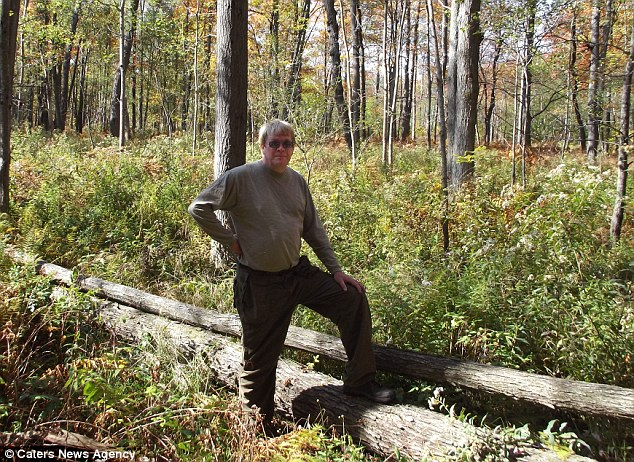 Location: Outdoorsman John Stoneman standing in the spot he saw strange 'creature'