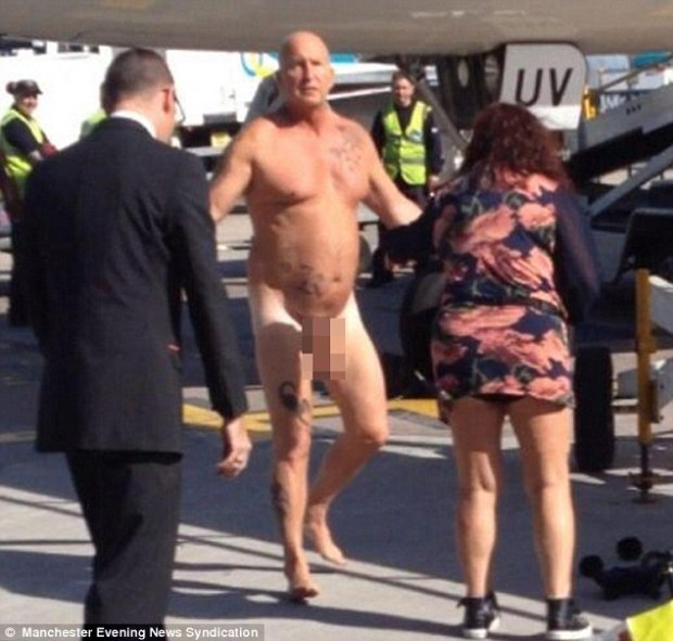 'Come on then!' A passenger had to be tasered after he stripped naked when he left a plane and then challenged an EasyJet captain to a fight