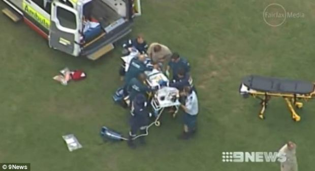 Frantic: A team of six paramedics work on Mr Styles in an attempt to stabilise him before being transferred to hospital