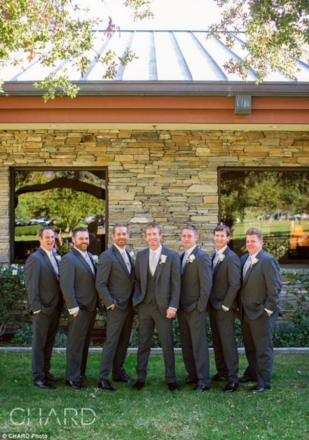 Sentimental: Paul Walker poses for what was to be the last family wedding he would attend