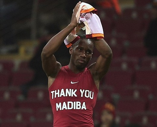Tribute: Didier Drogba wearing a vest paying respect to Nelson Mandela after Galatasaray played Elazigspor