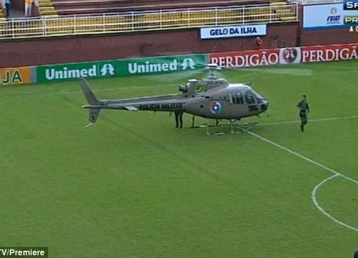 Incident: Violence escalated in the stands between supporters and one was airlifted out by this helicopter