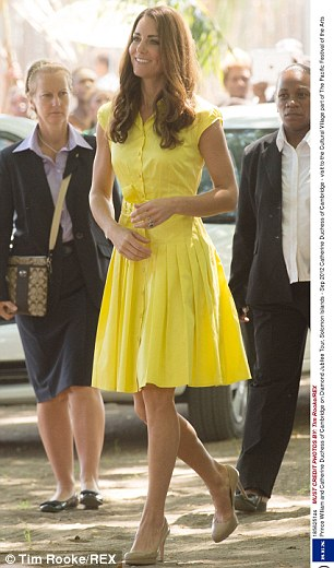 Golden girls: The Duchess shines brightest in a sunny yellow frock