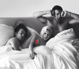 Provocative: Miley Cyrus, 21, tweeted a censored picture of herself in bed with photographers Mert Alas and Marcus Piggott as part of a Bedtime Portraits series to appear in W Magazine