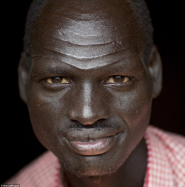 Distinctive: Many Nuer men are eschewing 'gaar' lines such as these because they are a clear indication of belonging to the tribe - dangerous when conflict looms