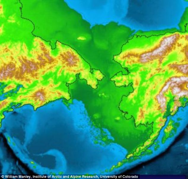 This map shows the outlines of Siberia, left, and Alaska, right, with dashed lines. The broader area in darker green represents the Bering Land Bridge used by Siberians to travel into North America. The latest linguistic research, however, suggests some Siberians may have returned home, taking their language with them