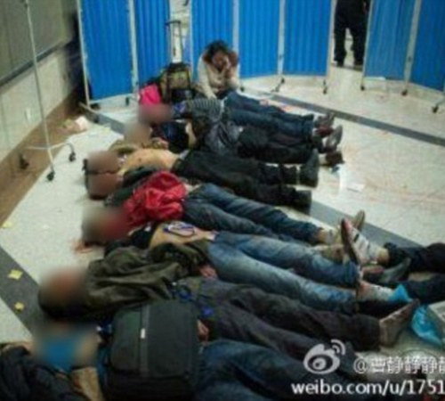Distressing: Photos circulated widely on the internet showed a line-up of bodies on the station floor surrounded by medical equipment. The majority of the photos are too graphic to publish