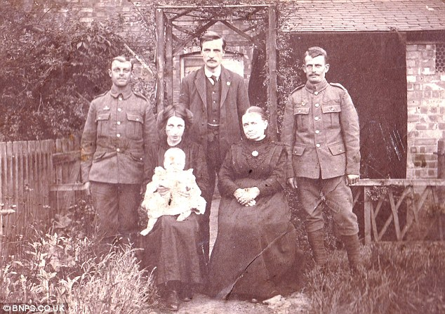 Photograph taken on the same occasion as the one returned by the German soldier. (Back row, left to right) unknown, Percy Buck, brother Ted Buck (front row) Bertha with son Cyril and Bertha's mother Mrs Stevens