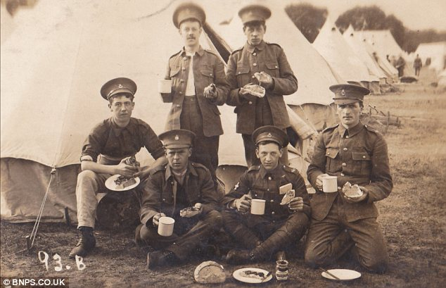 Percy Buck, far right, pictured with his fellow soldiers in the Hertfordshire Regiment