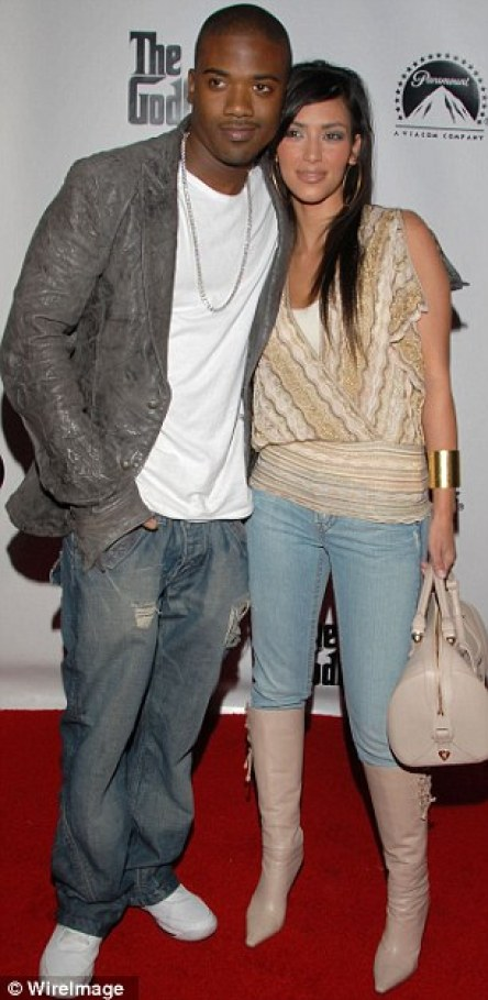 The ex files: Kim, pictured with former loves Reggie Bush (left) and Ray J (right)