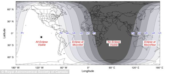 Where to see it: The total sclipse will be visible over most of North America