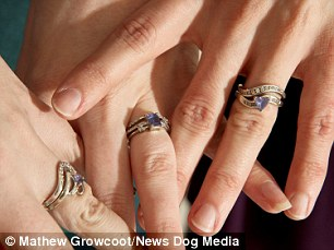 Doll, Kitten and Brynn showing off their wedding rings