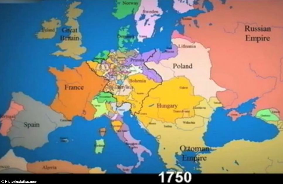 Time-lapse video shows constantly changing borders in Europe over
