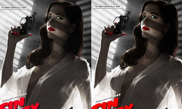 Falling Money 3d Wallpaper Eva Green S Sin City 2 Poster Edited To Reveal Less Breast