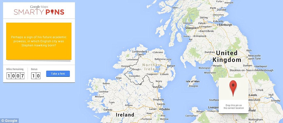 Take on the Google Maps Smarty Pins challenge to test your global - pins on a map